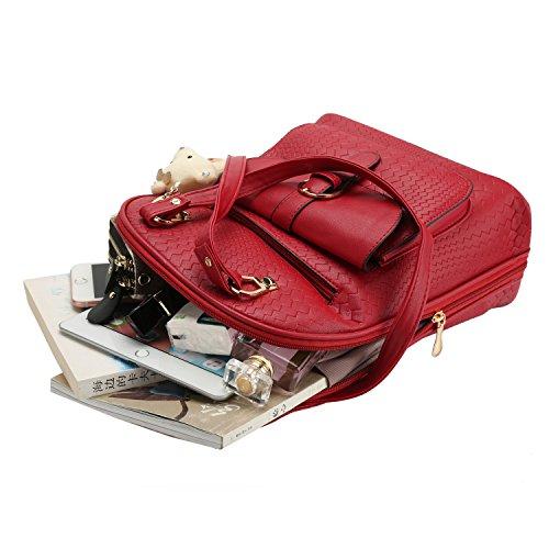 Mochilas Mujer de Cuero Mochilas Tipo Casual Bolso Escolares Mochila de Viaje Rojo