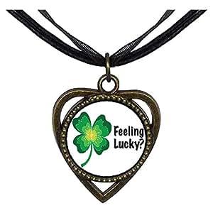 Chicforest Bronze Retro Style feeling lucky clover Heart Shaped Pendant