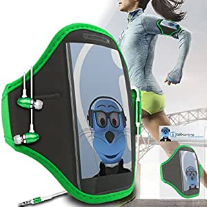 Green Black Adjustable Sports GYM Jogging Running ArmBand Case Cover with 3.5mm Aluminium Headphones For Nokia C7
