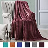 """Luxe Manor 50x60 Inch Ultra Soft Flannel Fleece Throw Blanket Lightweight Decortive Fuzzy Plush Microfiber Warm Blanket for Sofas Couches Beds and Office (50"""" x 60"""", Burgendy-2)"""