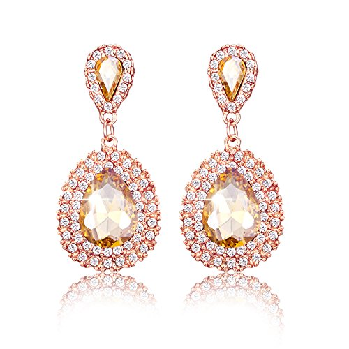 iWenSheng Champagne Crystal Teardrop Earrings