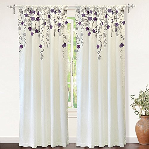DriftAway Isabella Embroidered Room Darkening Window Curtains Embroidered Crafted Flower 2 Panels 50 Inch by 84 Inch Ivory Purple