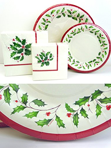 lxhol72 Lenox Holiday Holly Paper Plates and Napkins Set, 72 pc, Christmas