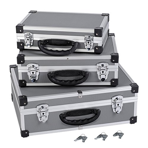 3in1 Aluminium-Koffer Alukoffer Werkzeugkoffer-Set in Grau/Silber - Art. PRM10120