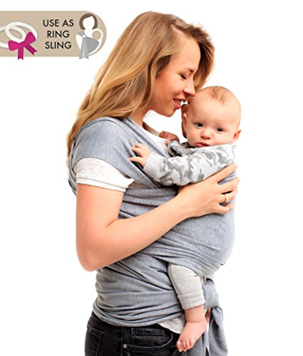 Baby Wrap Carrier - Ring Sling for Newborn and Infant - Nursing Cover & Blanket - Free Rings and Pouch - Moby Holder - Breathable & Stretchy Cotton - Gray - Perfect Baby Shower Gift (Baby Bobo)