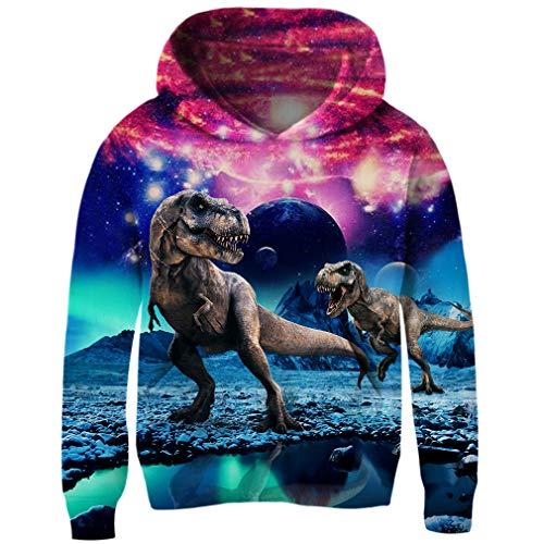 - Funnycokid Unisex Kids Fleece Sweatshirt 3D Dinosaur Hoodie Novelty Pullover Hooded Jumpers M