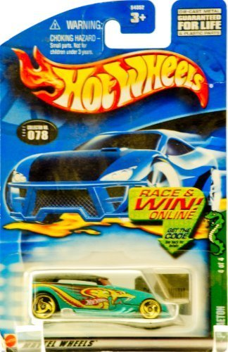 2002 - Mattel - Hot Wheels - Cold Blooded Series 4 of 4 - Phaeton (Teal & Snake Graphics/ Black Top) Collector #078 - Gold Custom Wheels - Out of Production - New - Rare - Limited Edition - Collectible