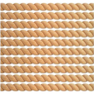 Round (Split) Real Wood Unfinished Rope Molding Moulding Trim, Maple Wood - 10 Pack (80 Total Feet) (Decorative Trim Moulding)
