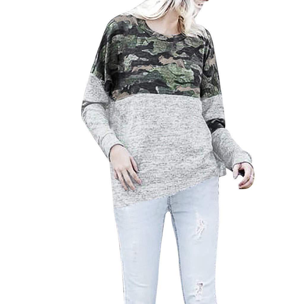 Sylar Camisetas De Manga Larga para Mujer Camisetas De Camuflaje Cuello Redondo Sudadera Sin Capucha para Mujer Camisa De Manga Larga De Patchwork Blusa Mujer Elegante Primavera Otoño: Amazon.es: Ropa y accesorios