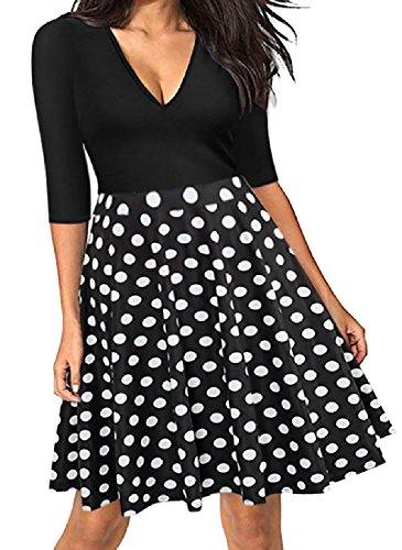 Comfy Stitching Dress Waist Women Fashional Evening Party Print Pattern4 V Neck r6wrxA5q