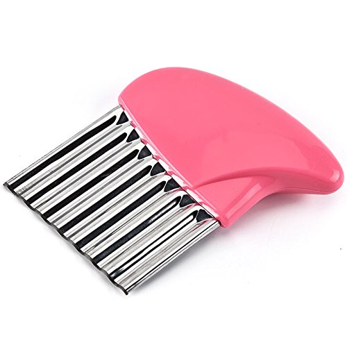 New-Hi Crinkle Cut Knife, Stainless Steel French Fries Cutter Fruit And Vegetable Wavy Chopper Knife Cutter Potato Chips Chipper Slicer-Pink by New-Hi (Image #5)