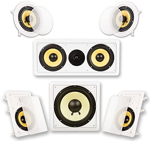 Acoustic Audio by Goldwood HD516 In-Wall/Ceiling House Theater Encompass 5.1 Speaker System, 6.5-Inch, White