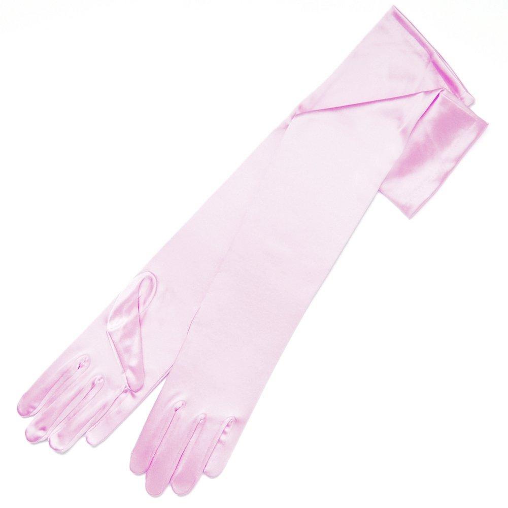 ZaZa Bridal 19.5'' Long Shiny Stretch Satin Dress Gloves 12BL-Light Pink