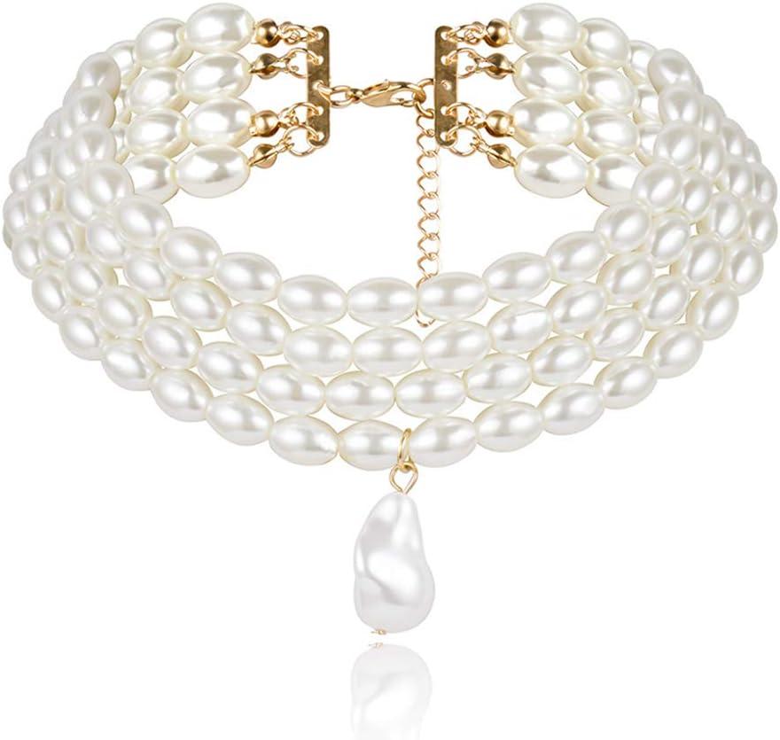 NICEWL Collares A Capas de Perlas Falsas de Las Mujeres,Perlas de Forma Irregular Barroca Colgante Gargantilla,Vintage Clavicle Cadena Traje Joyería,Oval