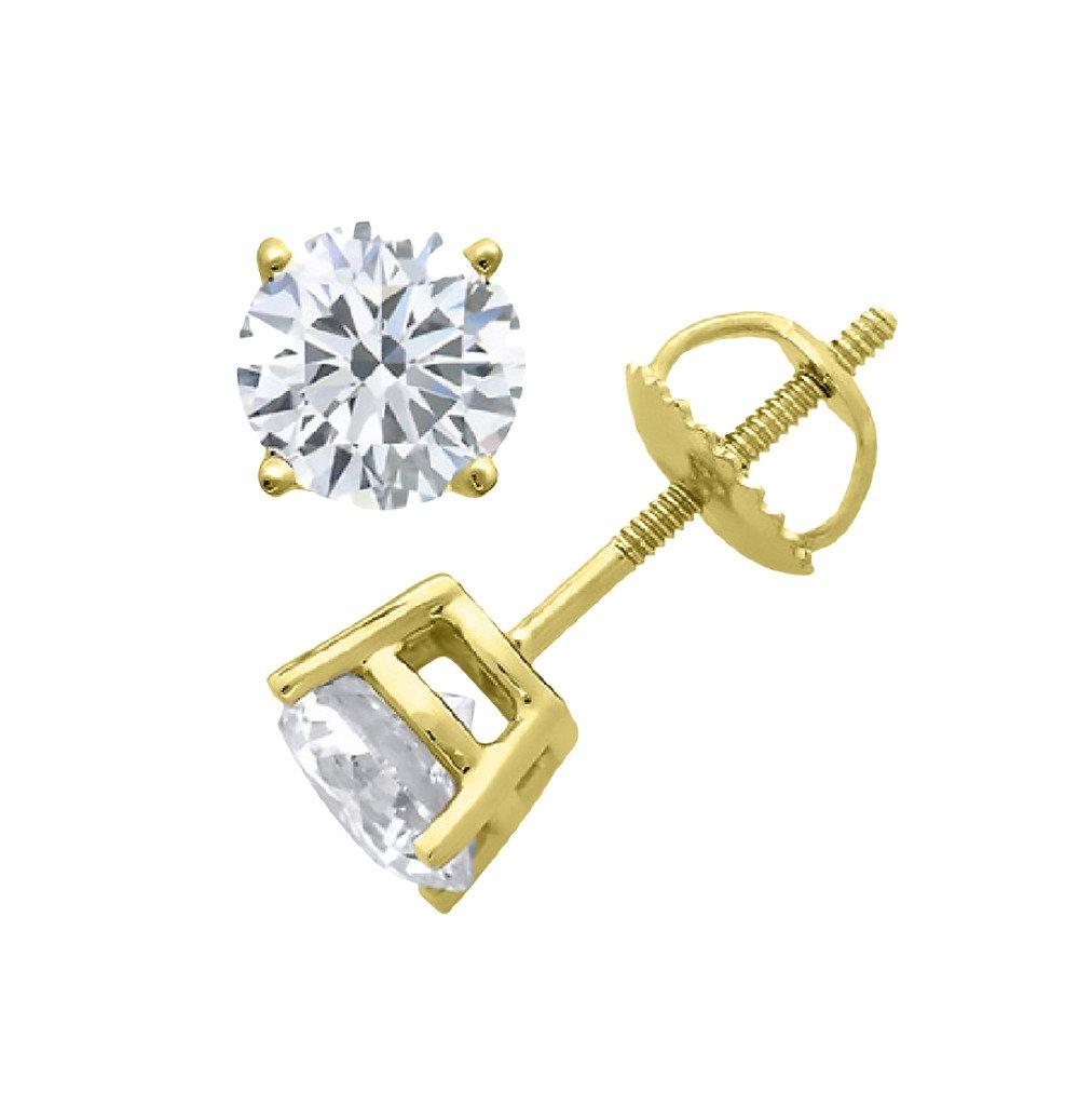 IGI Certified Round Diamond stud Premium Quality Screw Back 14K Yellow Gold (1.25 ctw, Clarity-SI2)