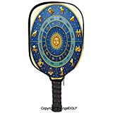 AngelDOU Astrology Soft Neoprene Pickleball Paddle Racket Cover Case Wheel of Astrological Signs Names and Dates with Moon Sun in Middle Decorative Fit for Most Rackets.Blue Light Blue and Gold