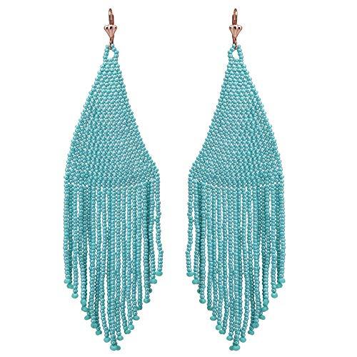 El Allure Preciosa Jablonex Teal Colour Glass Seed Bead American Native Boho Pattrened Fringe Trendy Handmade Long Earring for Women. -