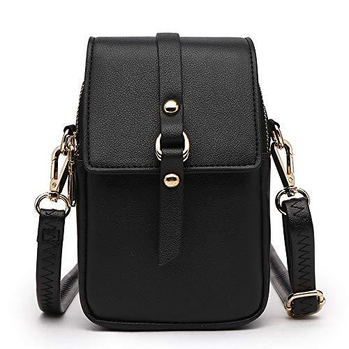 Women Small Crossbody Bag Leather Cell phone Purse Holder Wallet Shoulder Bag Adjustable Strap (BlackB)
