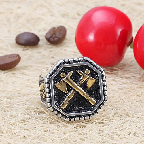 New Retro Feather Stainless Steel Rings for Men Axe Punk Jewelry Golden