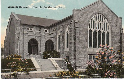 F9558 PA, Souderton Zwingli Church Postcard (Souderton Pa)