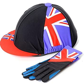 55e25877838 Union Jack Hat Cover   Riding Glove Set (Blue) Age 5-10  Amazon.co.uk   Sports   Outdoors