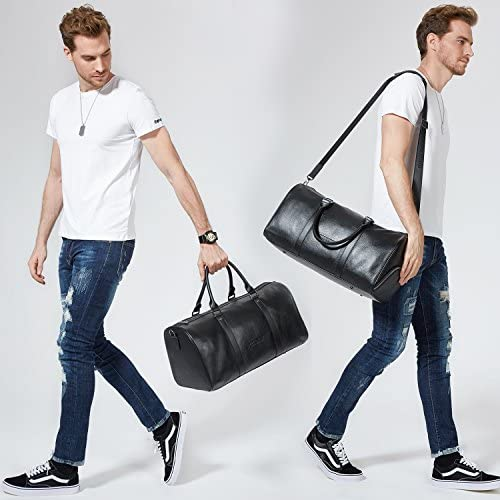 Father's Day Gifts BOSTANTEN Genuine Leather Travel Weekender Overnight Duffel Bag Gym Sports Luggage Tote Duffle Bags For Men