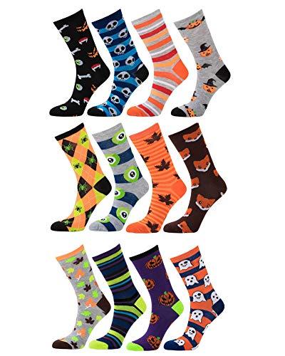 Womens Fun and Colorful 4 Pair HolidayXmas-,Christmas,American Flag,Halloween Crew Socks