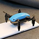 RC Drone Mini Selfie Pocket Drone Quadcopter with HD Camera Live Video Headless Mode with RC Toys for Kids & Beginners as gift (Blue, S9W)