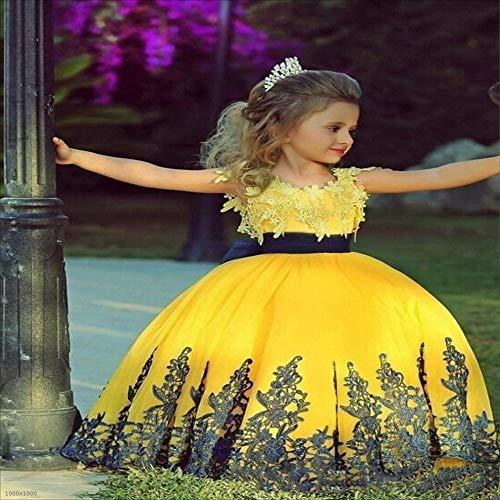 2-3T Yamyannie-Gdr Robe de Danse pour Filles, VêteHommests pour Enfants Qi Dentelle Dentelle Epaule Fleur Fille Jupe Robe De Mariage (Taille   10-11T)