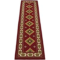 Southwestern Runner and Area Rug Dark Red Printed Slip Resistant Rubber Back (Red, 23 x 7)