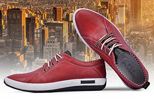 Happyshop (tm) Zapatos De Cuero Ocasionales Para Hombre Con Cordones Slip-on Driving Zapatos Zapatos De Salón Wine Red