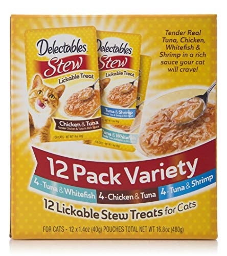 Delectables Stew Lickable Wet Cat Treats -Chicken, Tuna & Seafood