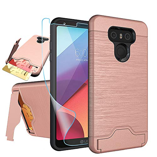NiuBox LG G6 Case,LG G6 Card Case with HD Screen Protector, [Card Slot Wallet Fits 2 Cards] [Kickstand] Dual Layer Hybrid Shock Absorption Protective Phone Case for LG G6 (Verizon 2017) - Rose Gold