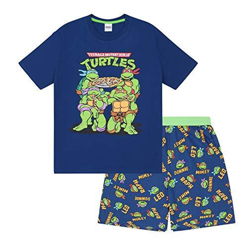 Teenage Mutant Ninja Turtles Official Gift Mens Loungewear Short Pajamas Large Navy Blue]()