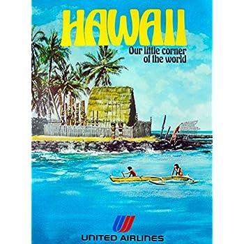 Hawaii Beach United Air Lines Vintage Travel Poster