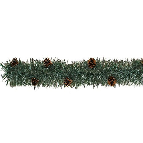 amscan Green and Brown Tinsel Boa Garland with Pine Cone | Christmas - Winter Pine Garland