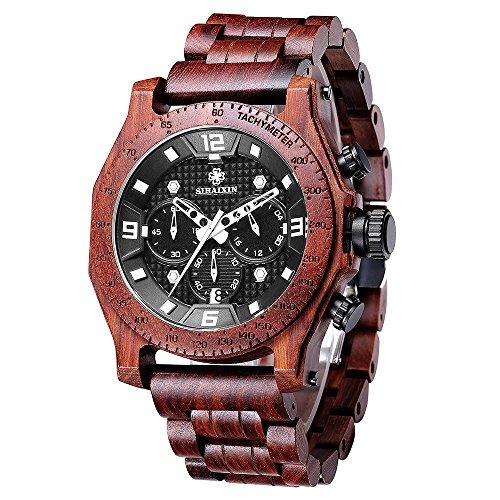 Men's Wood Watches Hand-Made Wrist Watch Quartz Wristwatch Waterproof Multifunction Date Watch