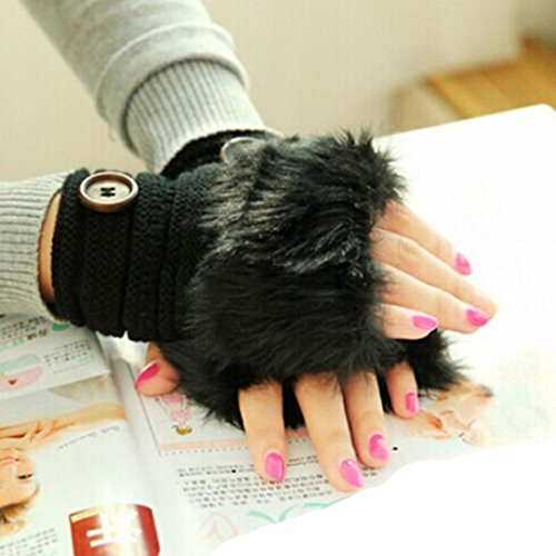 DZT1968 1PCWomen Winter Faux Rabbit Fur Wrist Fingerless Gloves Mittens (Black)