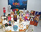 Disney Coco Movie Deluxe Cake Toppers Cupcake Decorations Set of 15 with 12 Figures, Charm, Tattoo and Sticker featuring Miguel, Mama Imelda, Spirit Guide and More!