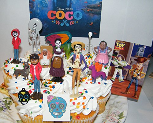 Disney Coco Movie Deluxe Cake Toppers Cupcake Decorations Set of 15 with 12 Figures, Charm, Tattoo and Sticker featuring Miguel, Mama Imelda, Spirit Guide and More! -