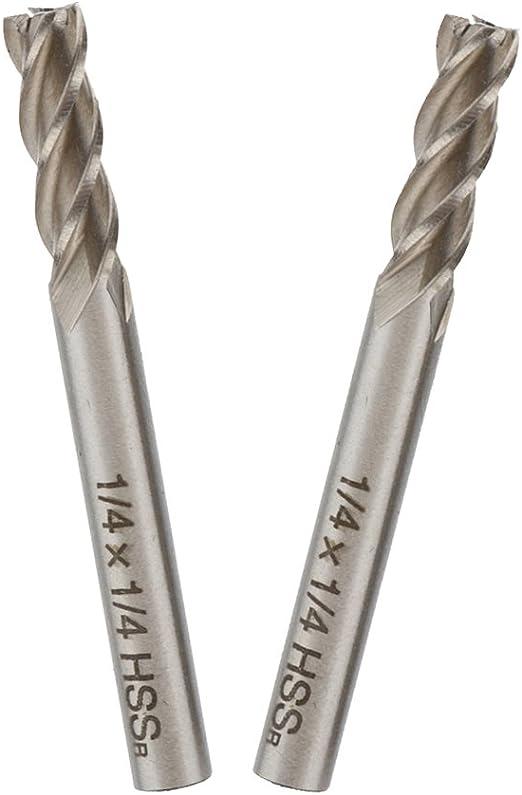 """2Pcs 1//2/"""" Cutting Spiral Drill Bit Straight End Mill Cutter 4 Flute 1//2/"""" Shank"""