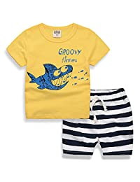 Baby Boys Cotton Top with Stripe Shorts Set Summer Pajamas Outfit