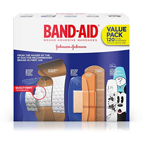 Band-Aid Brand Adhesive Bandage Family Variety Pack for First Aid and Wound Care, Assorted Sizes, 120 - Bandage Kit