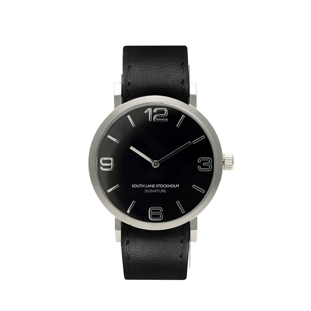 South Lane 'SIGNATURE' Swiss Quartz Stainless Steel and Leather Casual Watch, Color:Black (Model: 659436314368)