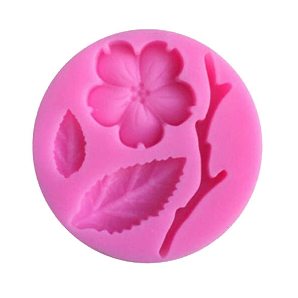 Slendima 2.20'' x 0.39'' Silicone Peach Blossom DIY Fondant Cake Mold Kitchen Decorating Baking Tool