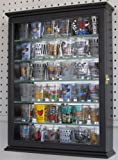Shot glass display case cabinet holder rack shadow box with Glass Door-BLACK Finish