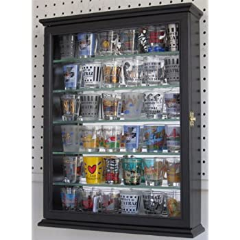 Shot Glass Display Case Cabinet Holder Rack Shadow Box With Glass Door BLACK  Finish Part 76