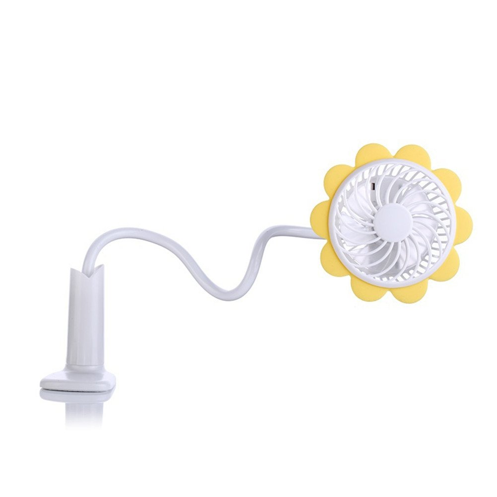 GS Sunflower Mini Clip Fan Portable Flexible Bendable Multi-angle USB Rechargeable Fan Personal Bedside Desk Table Fan for Home Office Laptop Baby Stroller Car Outdoor GuangSheng