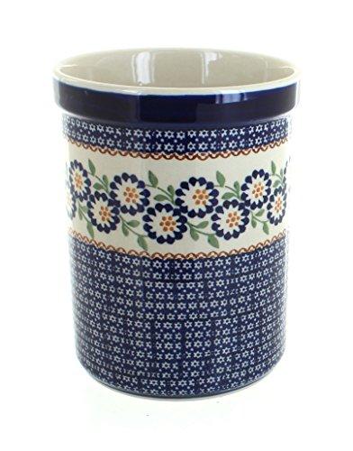 Blue Rose Polish Pottery Peach Blossom Utensil Jar