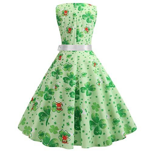 Party st Patrick's Eleganti donna Mujer Lace 2 Stampa Para sera per Fiocco Maniche da Verde corte Vestidos Vpass Cocktail Vintage abiti Day Iwq7FF